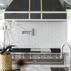 Kitchen Wallpaper Backsplash Reface Old Cabinets Brass Vent Hood Trim - Transitional