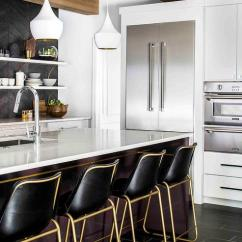Kitchen Faucet Stainless Steel Vinyl Flooring Gold And Black Barstools With White Tom Dixon Beat Lights ...
