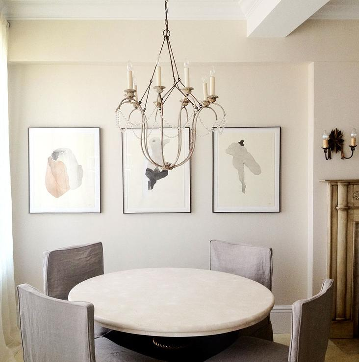 Round Marble Top Dining Table with Gray Slipper Dining