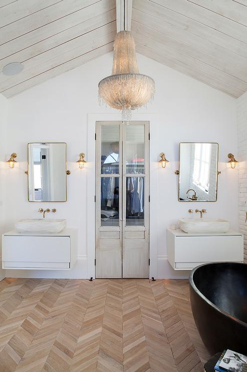 White Floating Sink vanity with Brass Pivot Mirror
