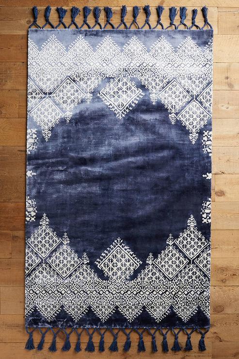 Moroccan Navy Blue Wool Rug  Overstockcom
