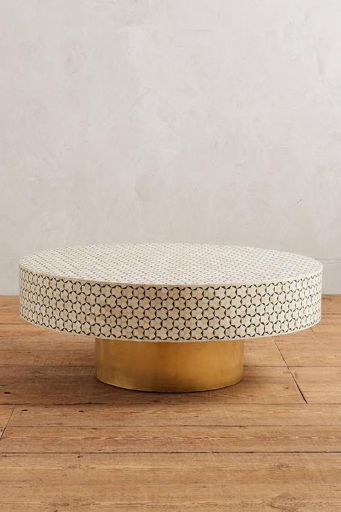 Rounded Inlay Ivory and Black Coffee Table