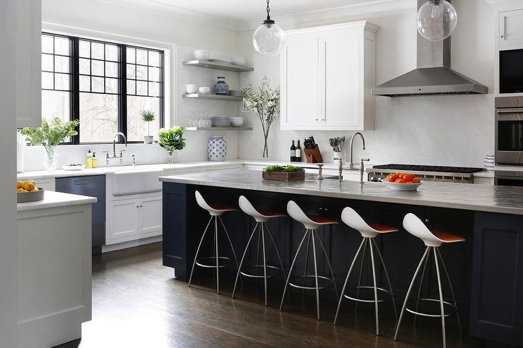 gooseneck kitchen faucet contemporary chairs white cabinets with blue island - transitional ...