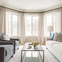 Cream Living Room Curtains Ceiling Beams Charcoal Gray Accent Chairs With Pillows Transitional