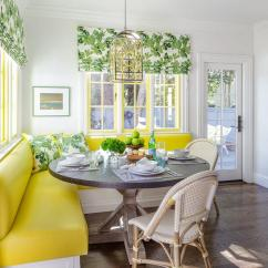 White Round Dining Room Table And Chairs Pop Up Beach Yellow Green Breakfast - Transitional