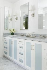 Blue Washstand with Eclipse Cabinet Doors - Transitional ...