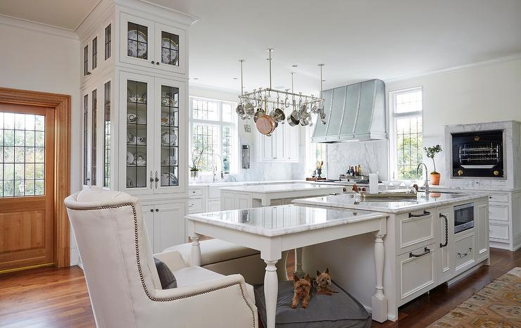 Marble Top Dining Table Next To Kitchen Island Transitional Kitchen