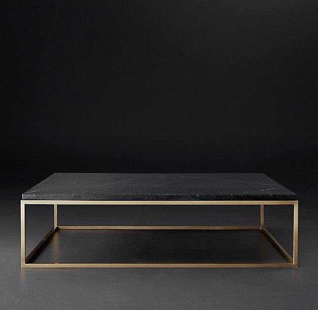 Square Marble Brass Coffee Table