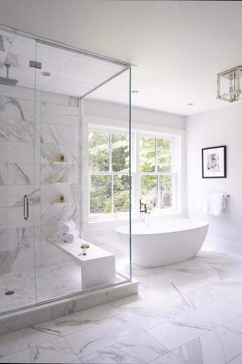 Bathtub Book Across From Shower with Barrel Ceiling  Transitional  Bathroom
