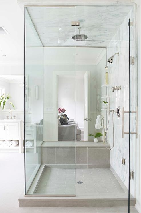 White and Gray Striped Marble Tile Surround with Marble
