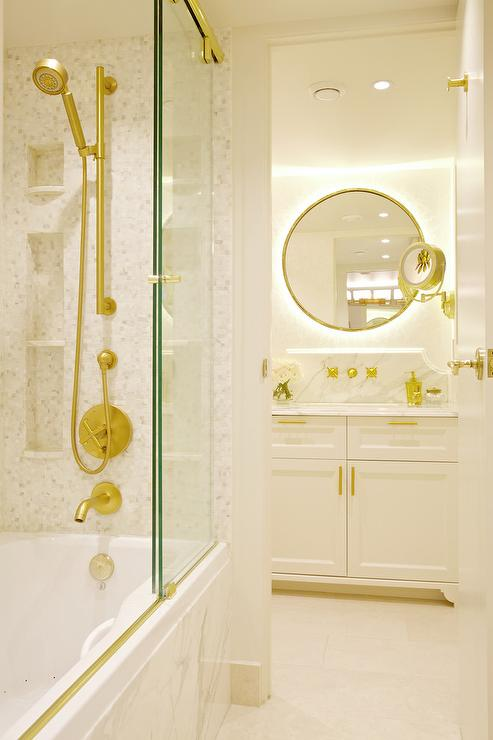 Drop In Bathtub With Sliding Glass Shower Doors On Brass Rails Transitional Bathroom