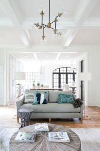 Gray Sofa with Brass Floor Lamps - Transitional - Living Room