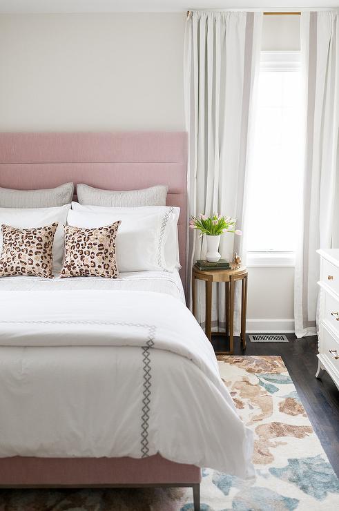 Blush Pink Velvet Channel Tufted Headboard Design Ideas