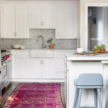 pink kitchen rug king cabinets orange and hot design ideas in white