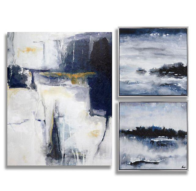 ORIGINAL Abstract Landscape Oil Painting White by ModernHouseArt