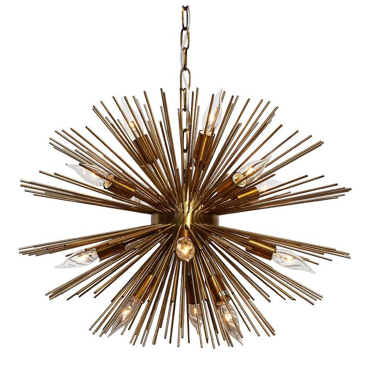 Y Decor Gold Sunburst 12 light Chandelier