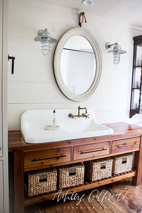 Kids Bathroom with Console Table Turned Sink Vanity  Cottage  Bathroom