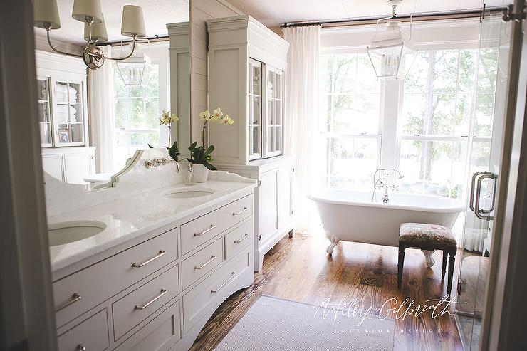 White Quartz Curved Bath Vanity Backsplash  Cottage