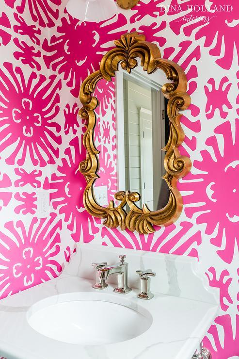 Pink Bathroom with Gold Mirror  Contemporary  Bathroom