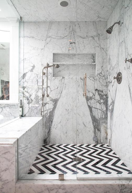 White and Black Chevron Shower Floor Tiles  Transitional