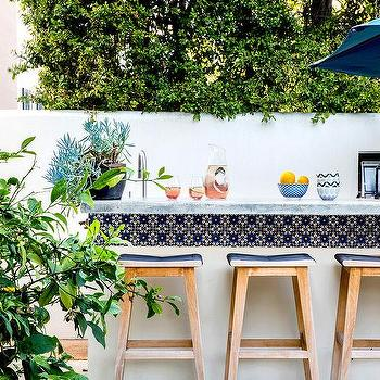Outdoor Kitchen and Bar with Blue Spanish Tiles