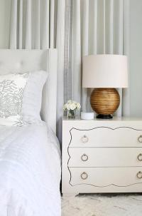 White Wingback Bed with Gold Lamps - Transitional - Bedroom