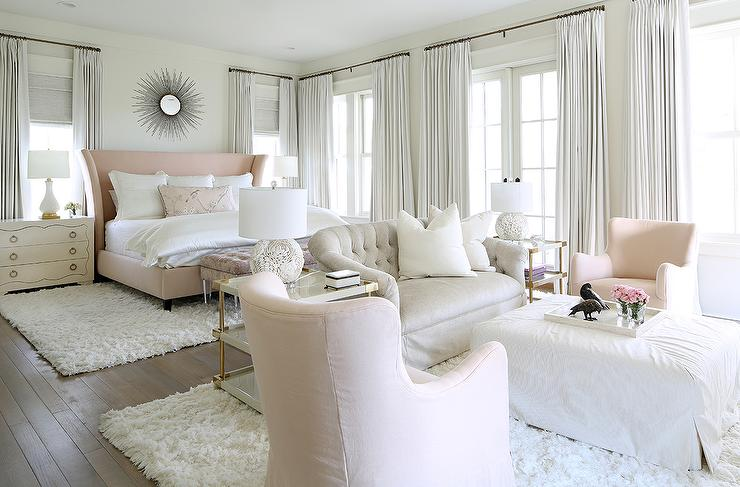 Master Bedroom Sitting Area with Chaise Lounge and Brass Arc Floor Lamp  Transitional  Bedroom