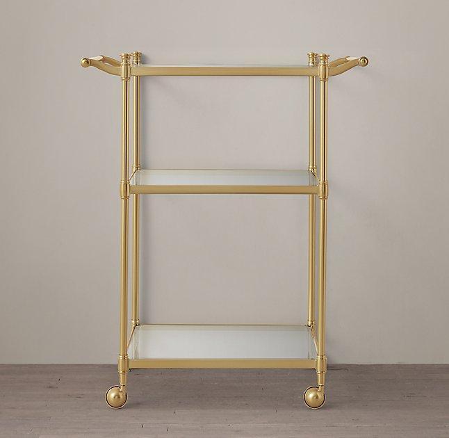 aged brass rolling bath cart