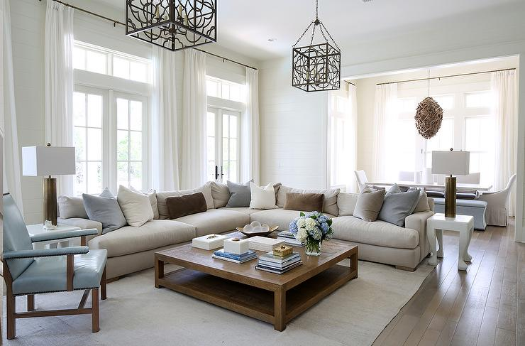 But, there are small and. Oatmeal Linen Sectional with Blue and Gray Pillows ...