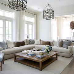 Pictures Of Living Rooms With Brown Sectionals Coastal Style Room Curtains Oatmeal Linen Sectional Blue And Gray Pillows ...
