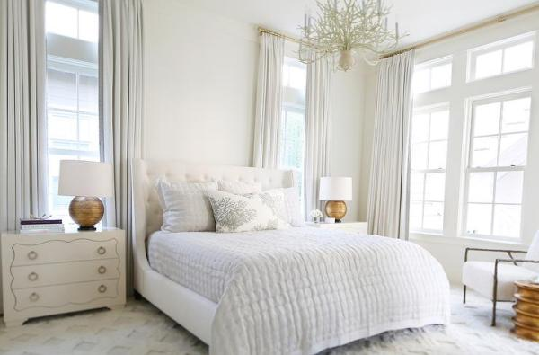 gold and white master bedroom White Master Bedroom with Gold Lamps - Transitional - Bedroom