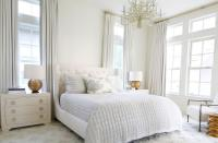 White Master Bedroom with Gold Lamps - Transitional - Bedroom