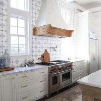 White and Blue Marble Mosaic Kitchen Backsplash