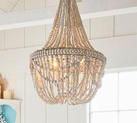 Metal Chandelier with White Washed Wood Beads
