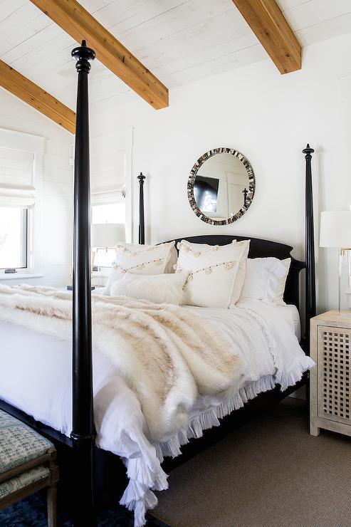 Black 4 Poster Bed with Black Capiz Mirror  Transitional  Bedroom  Benjamin Moore Swiss Coffee