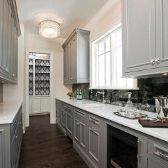 Window Treatments For Kitchen Granite Gray Galley Style Butlers Pantry With Beaded Flush Mounts ...