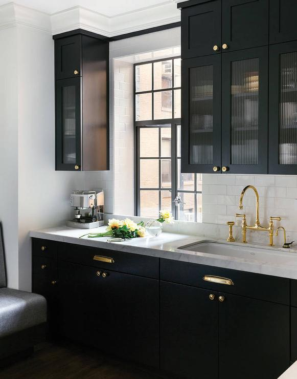 rolling kitchen cabinet delta sinks white ccabinets with brass pulls - cottage