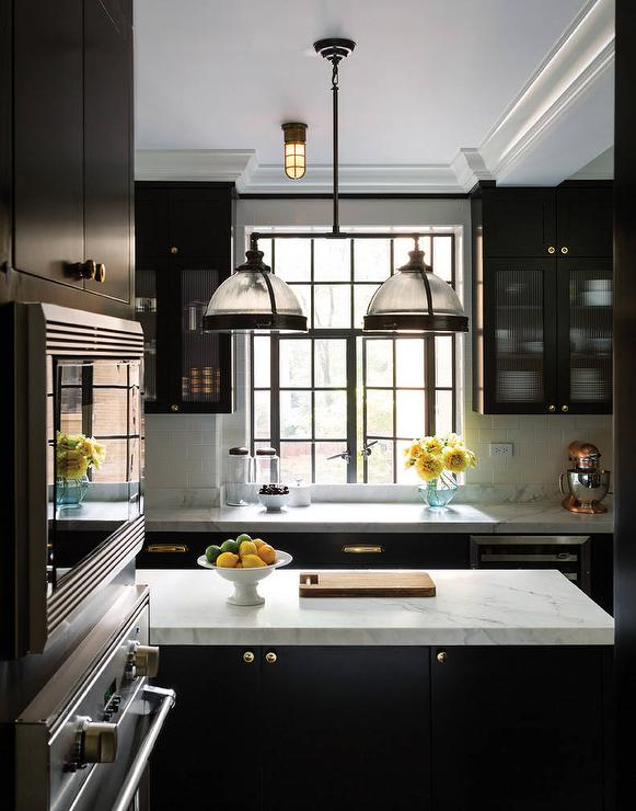 Black KItchen Cabinets With Reeded Glass Doors Transitional Kitchen