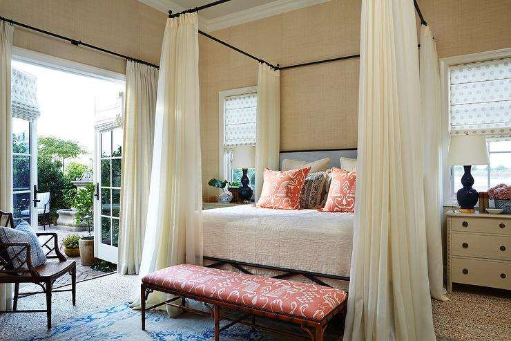 Iron Canopy Bed with Ivory Sheer Curtains  Transitional