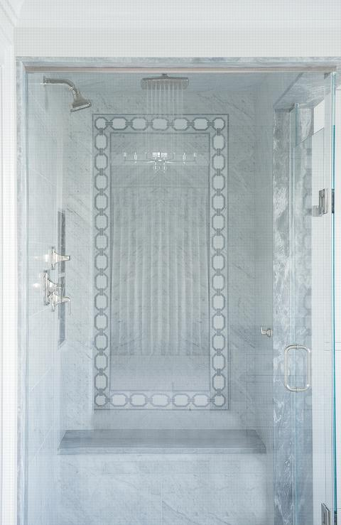 Marble Tiled Pony Wall Next to Black Washstand