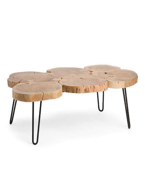 natural trunk metal coffee table