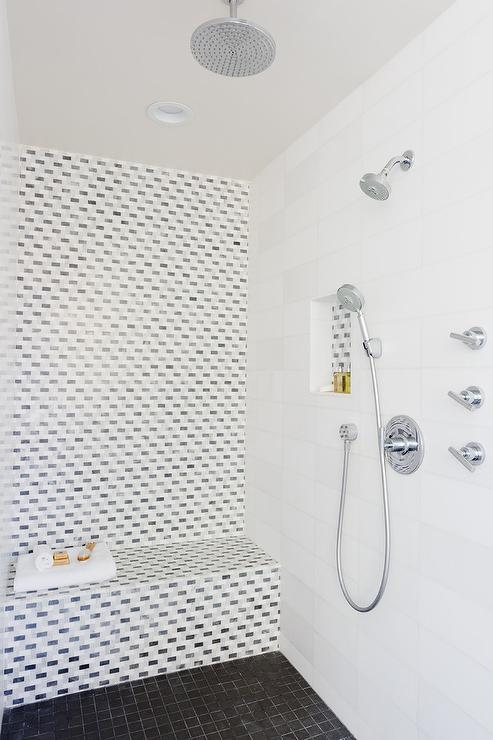 mosaic tiled shower accent wall