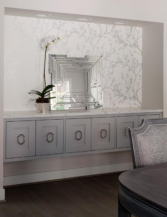 Dining Room with Gray Built In China Cabinet and Sideboard  Transitional  Dining Room