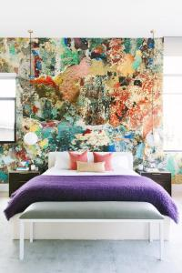 Paint Splatter Accent Wall - Contemporary - Bedroom