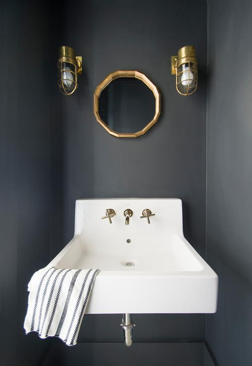 Powder Room with Black Walls and Gold Leaf Mirror
