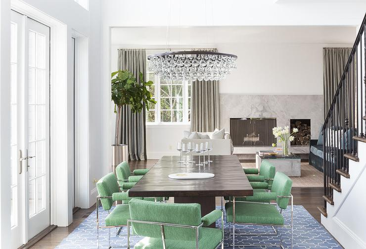 modern green dining chairs wood chair with blue trellis rug transitional room