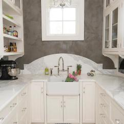Antiqued Kitchen Cabinets Toys Mini Chandelier Over Farm Pantry Sink - Transitional
