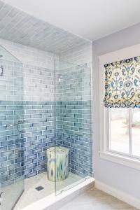 Blue Ombre Ceramic Shower Tiles - Transitional - Bathroom