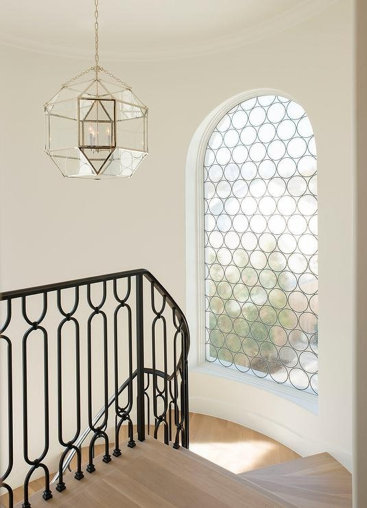 Winding Staircase With Arched Window Transitional Entrance Foyer | Window Design For Stairs | Exterior | Kitchen Color Combination | Home Wooden Staircase | Residential | Two Story Staircase
