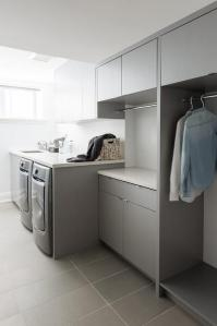 Gray Modern Laundry Room Design - Contemporary - Laundry Room